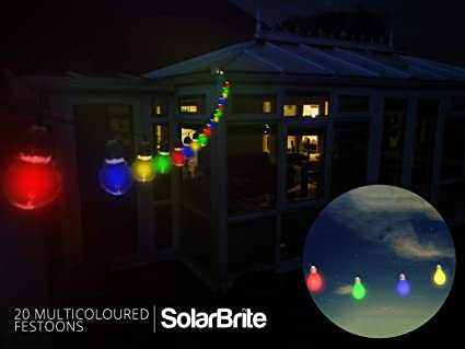 Solar Brite Deluxe 20 Warm White LED Solar Powered Festoon Party Lights Clear Bu