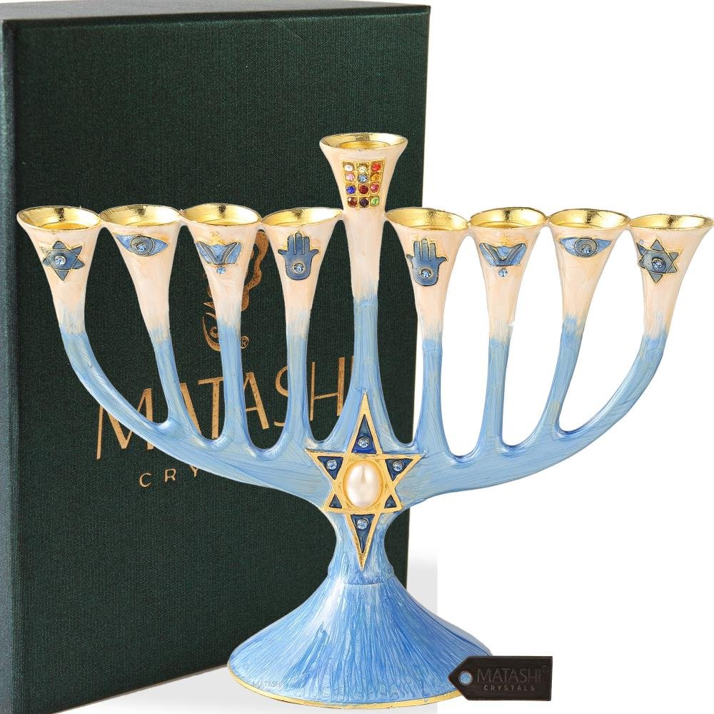 Hand Painted Enamel Menorah Candelabra Embellished with Gold Accents and Crystals by Matashi (Classic Blue)
