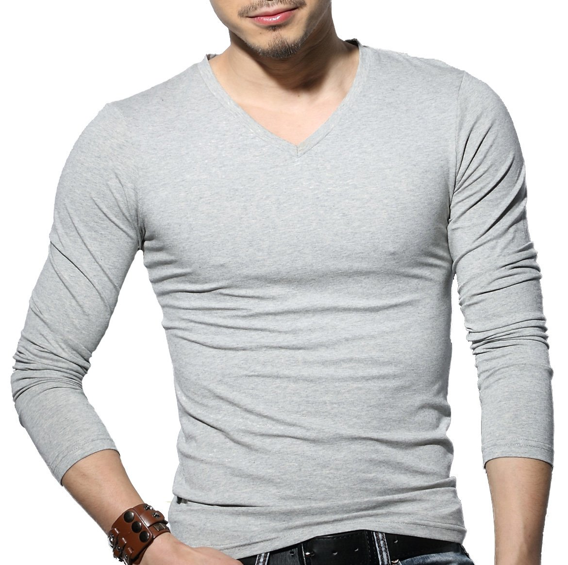 Sunshine Code Men's Tagless Slim Fit Top Muscle Cotton V-Neck Long Sleeve Undershirts T-Shirts, S, Grey