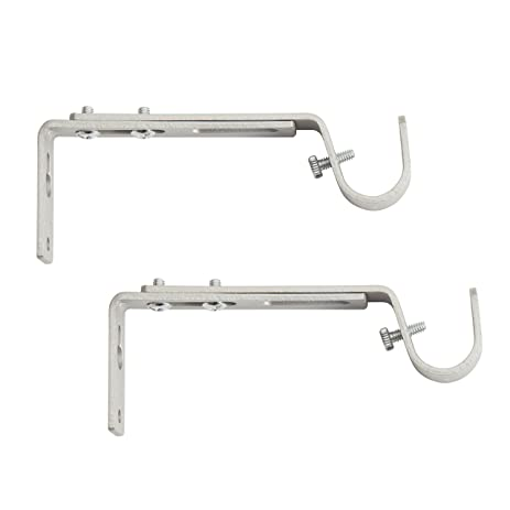 Kenney Adjustable Curtain Rod Brackets, Satin Nickel (2 Pack)