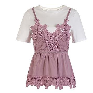 Koyi Camiseta De Mujer Top Sling Fake De Dos Piezas Elegante Cuello Redondo Perfecto Blusa De