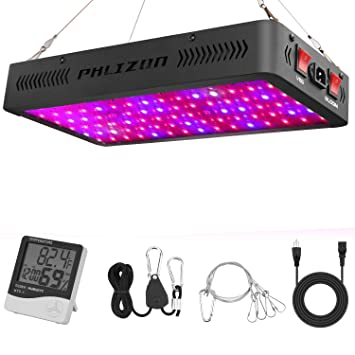 Phlizon Newest 900W LED Plant Grow Lightwith Thermometer Humidity Monitorwith Adjustable Rope