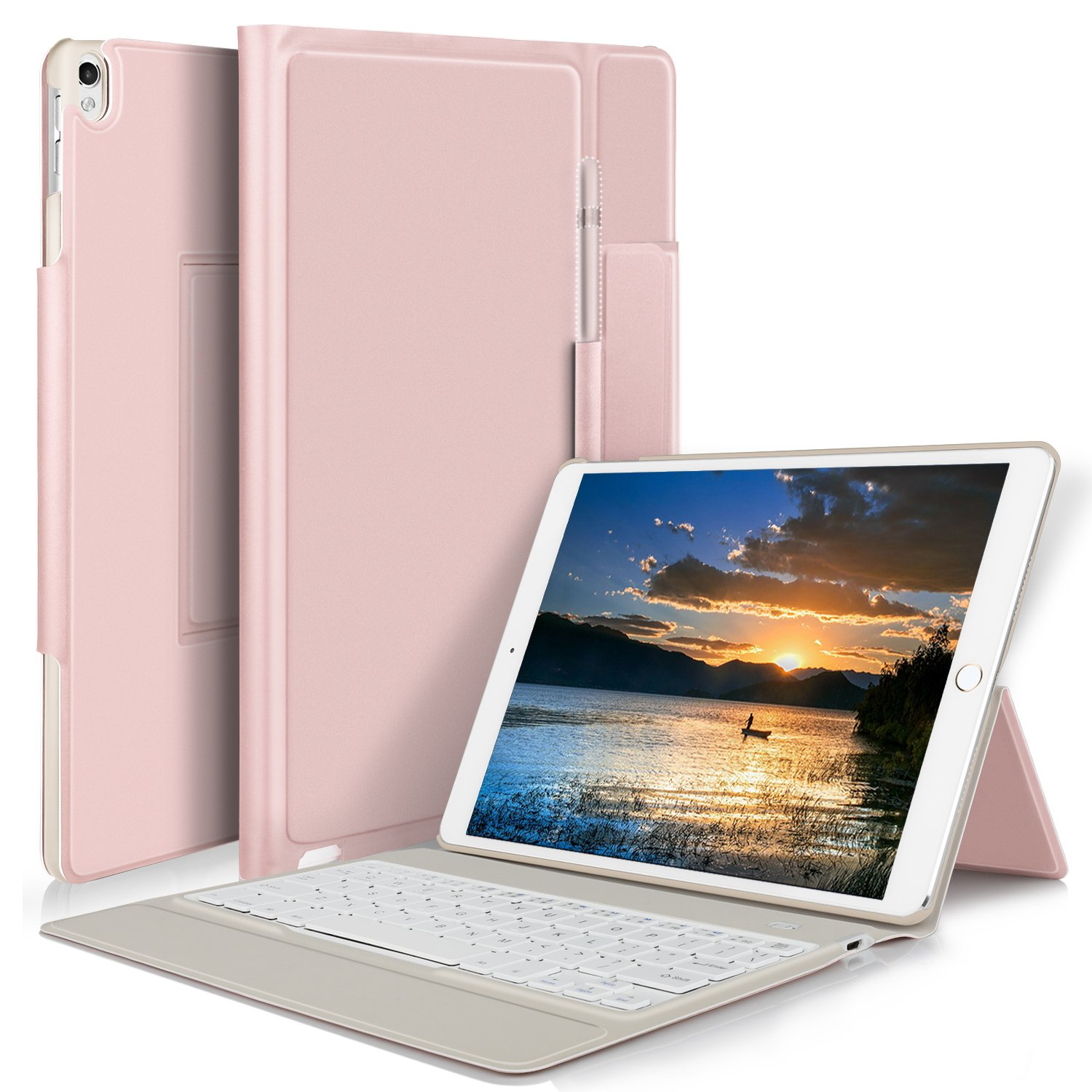 IVSO Apple iPad pro 10.5 inch Stand Case with Wireless Keyboard, Ultra-Thin Stand Cover Case for Apple iPad pro 10.5 inch 2017 Tablet (Rose Gold)