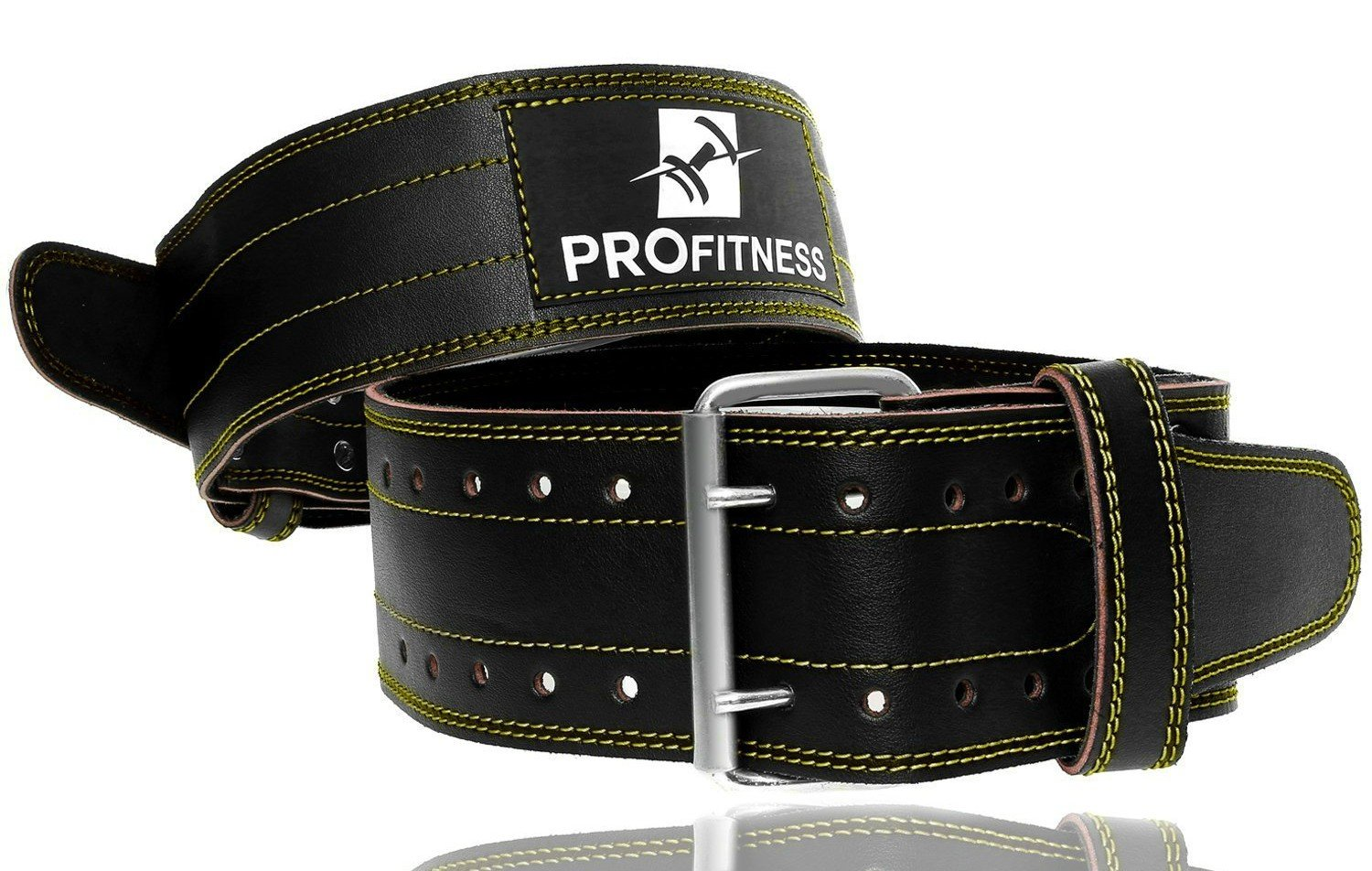 ProFitness Genuine Leather Workout Belt (4 Inches Wide) – Powerlifting Workouts, Deadlifts (Black/Yellow, Large)