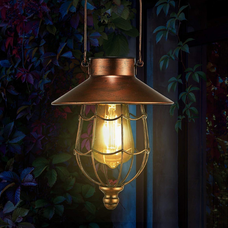 pearlstar Solar Lanterns Outdoor Hanging - Metal Vintage Lantern Warm White Solar Lights lamp Waterproof Edison Bulb Design for Pathway Garden Patio Yard Tree Decoration (1 Pack Copper)