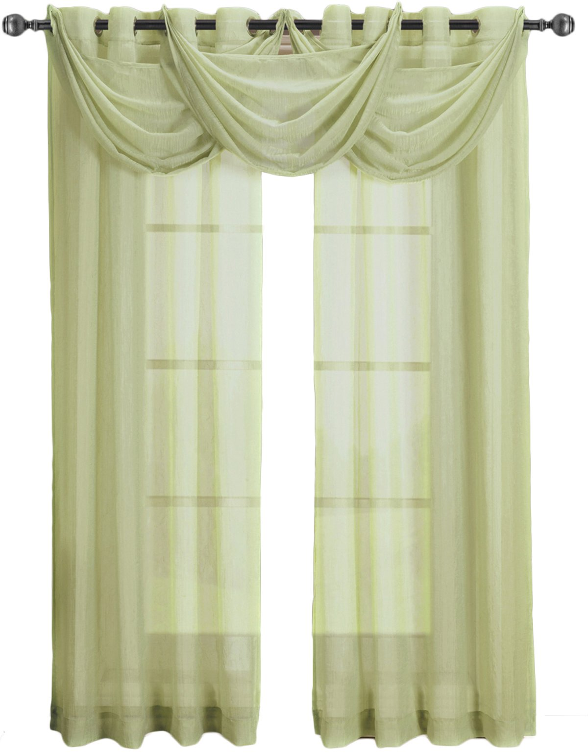 Royal Hotel Abri Spring-Green Grommet Crushed Sheer Curtain Panel,50x108 inches