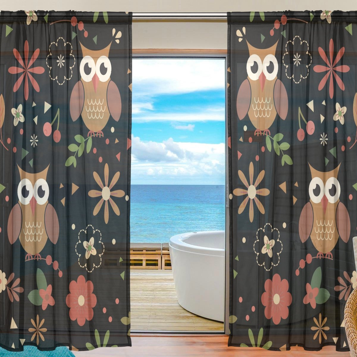SEULIFE Window Sheer Curtain Floral Flower Cute Animal Owl Voile Curtain Drapes for Door Kitchen Living Room Bedroom 55x78 inches 2 Panels