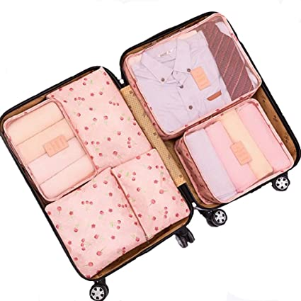 1d491b299c2 6Pcs Waterproof Travel Storage Bags Clothes Packing Cube Luggage Organizer  Pouch (Pink cherry)