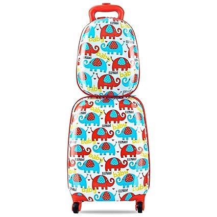 COSTWAY Equipaje Trolley Cabina para Niña Juego y Maleta con 4 Rueda Giratorias de 360° y Mochila (Patrón de Elefante)