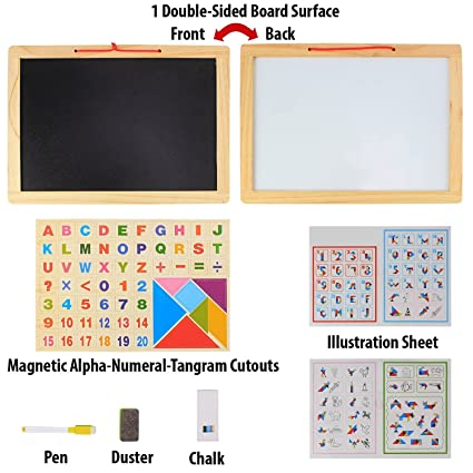 Storio Wooden Frame Double Sided Magnetic Whiteboard and Black Slate with Alphanumeric, Mathematical Signs and Tangram Boards for Kids