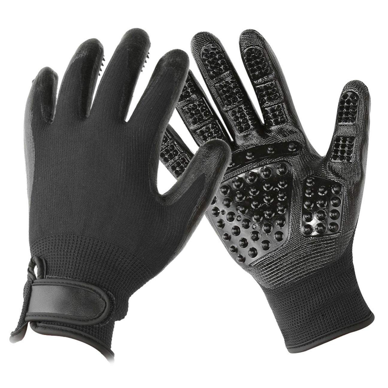 CHUN BO Pet Grooming Gloves - Enhanced Five-Finger Design - Suitable for Cats, Dogs and Horses - Long and Short Hairs - Excess Hair,Black by CHUN BO