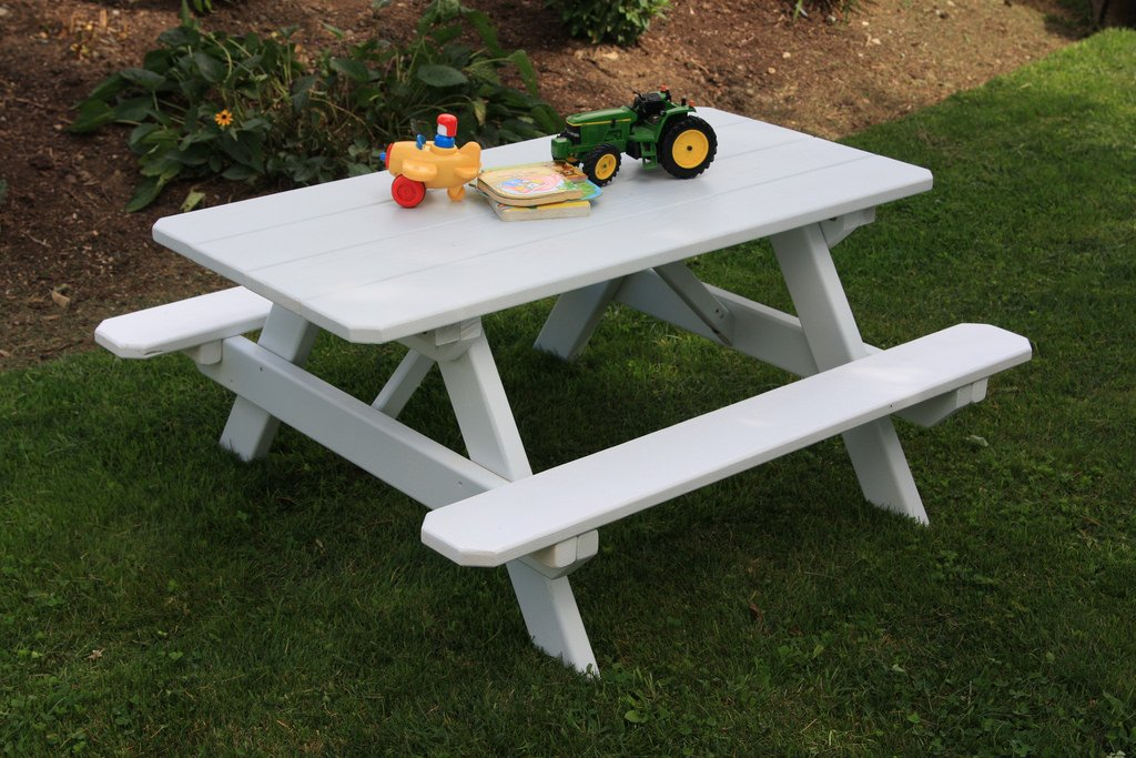 Kids Picnic Table Children's Outdoor Pine Table Amish Made USA - White