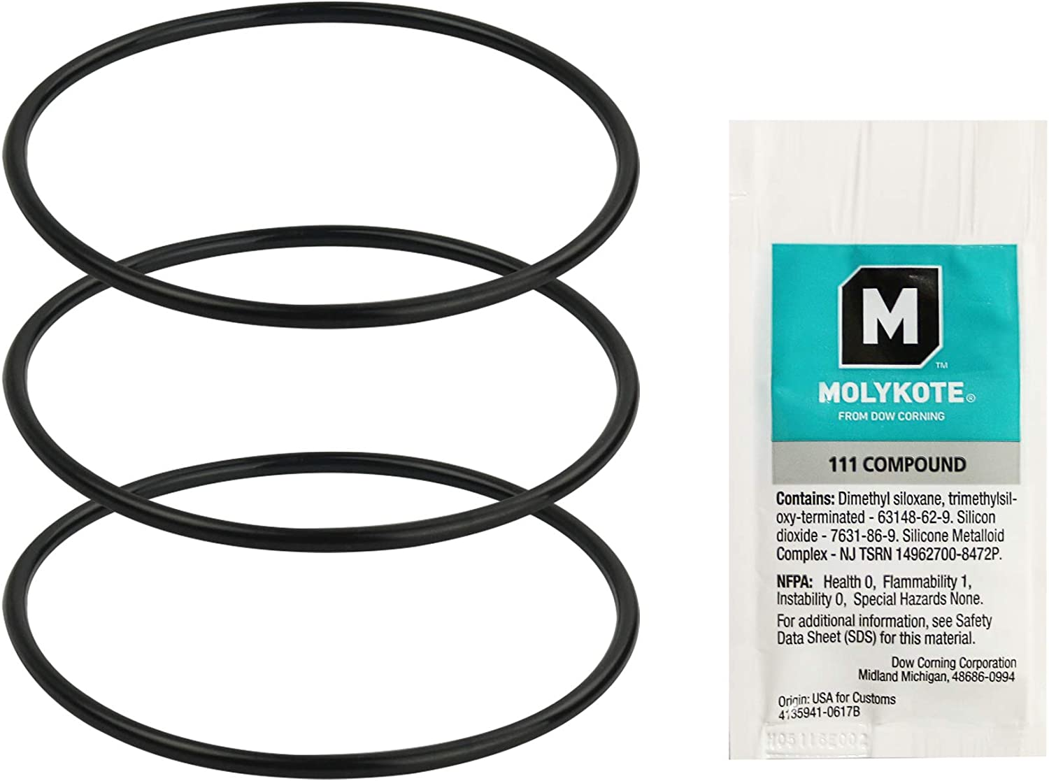 APEC Water Systems Combo Replacement O Rings for Reverse Osmosis Water Filter Housings with Lubricant, Black