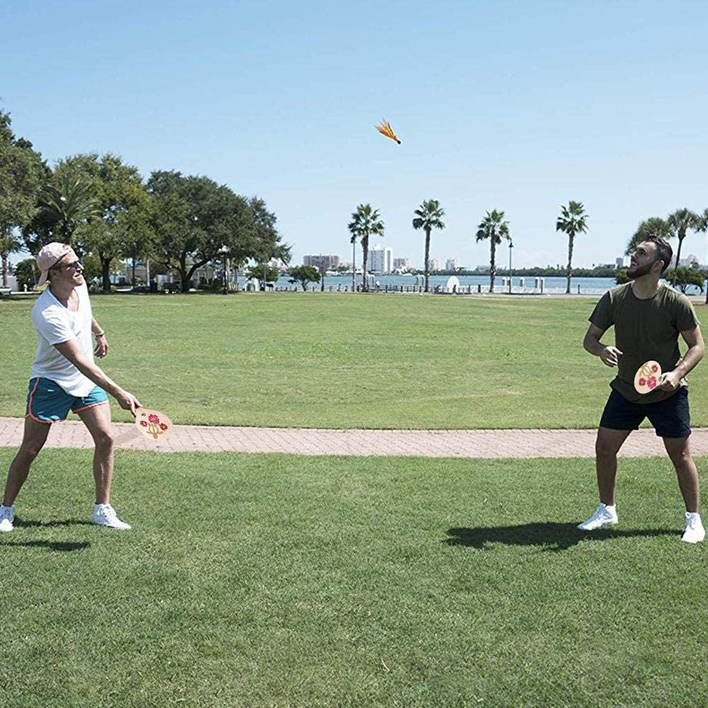 Rcraftn Strand Paddel Set Holzschl/äger Beachball Badminton Schl/äger Training Battledore Familienspiel Ball Kit f/ür Kinder Kinder B/üro Indoor Outdoor Sport Jugendliche Erwachsene
