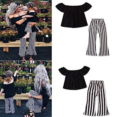 c51ff70668 PLOT❤Mommy and Me Off Shoulder Tops+Striped Pants Set Family ...