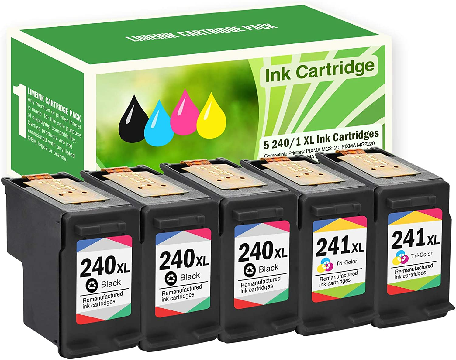 Limeink Remanufactured Ink Cartridge Replacements PGI-240XL & CLI-241XL High Yield (3 Black, 2 Color)