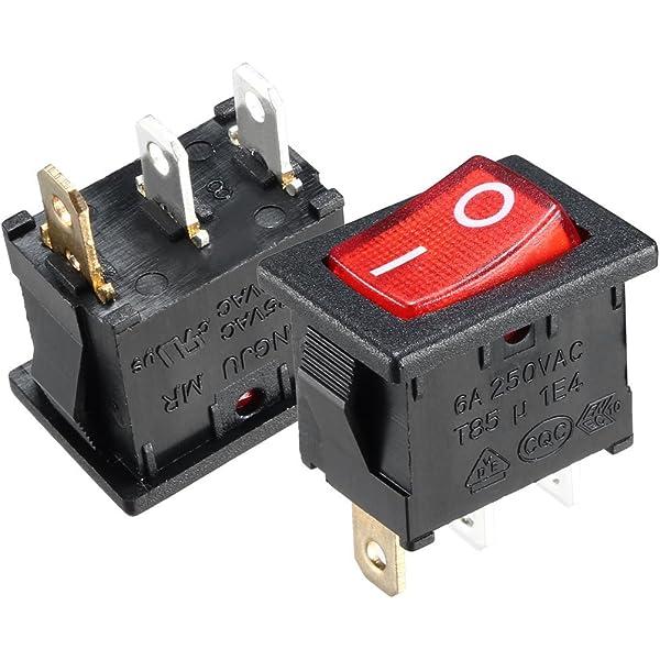 10pcs AC 15A 250V Red Light Illuminated ON-OFF I//O 2 Position SPST Rocker Switch