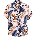 Coersd Men Ethnic Pattern Short Sleeve Casual Printing Holiday Hawaiian Shirt Blouse T-Shirt