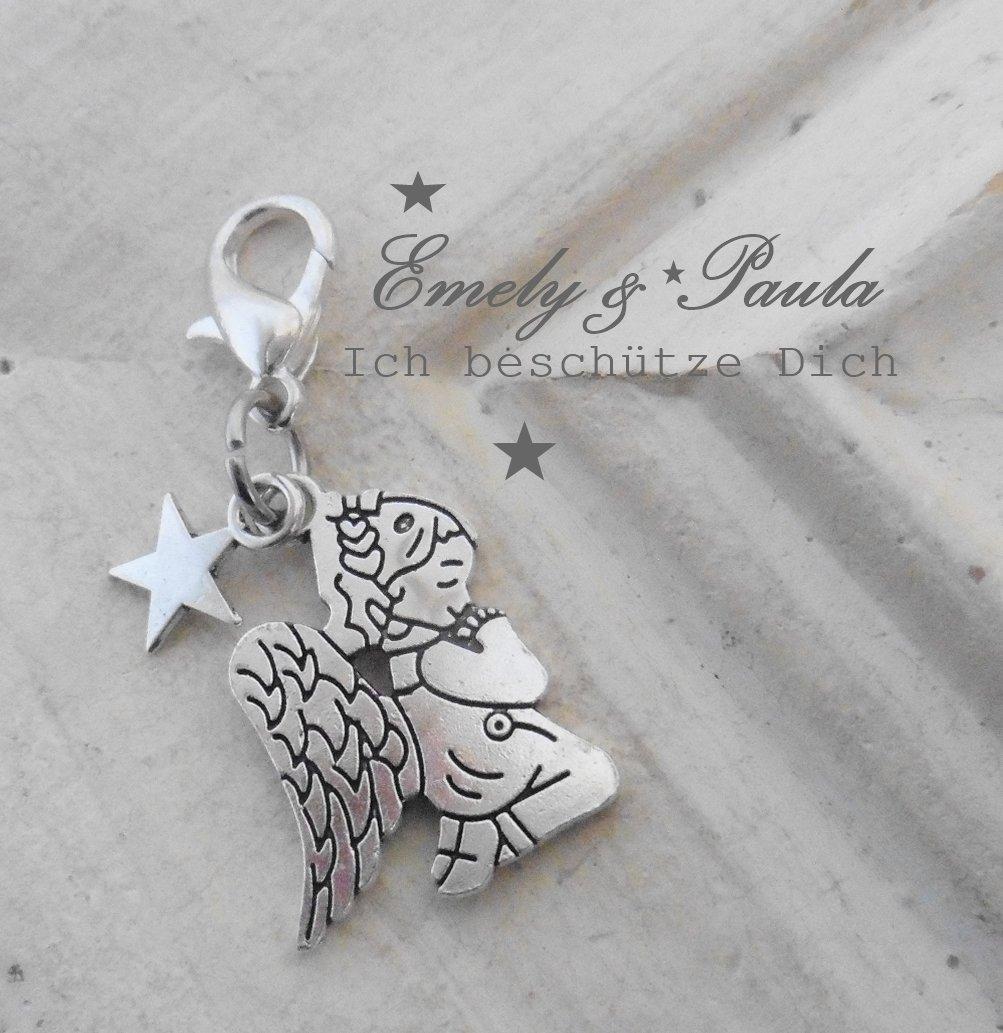 1 Charm Engel Flügel Stern Angel Wings Karabiner Anhänger