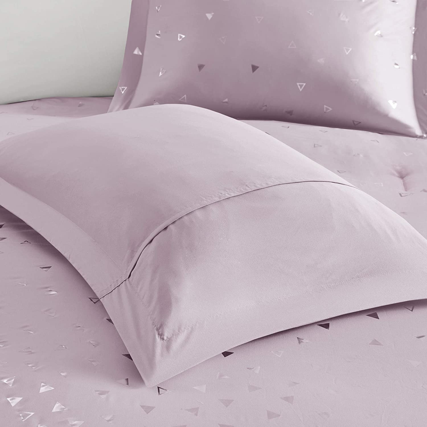 Full//Queen Intelligent Design Zoey Comforter Reversible Triangle Metallic Printed 100/% Brushed Ultra-Soft Overfilled Down Alternative Hypoallergenic All Season Bedding-Set Blush//Rosegold
