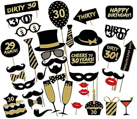 Amazon.com: losuya 30º cumpleaños fiesta Photo Booth Props ...