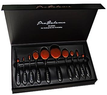 32b233115182 New Pro Balance Black Soft Hair Oval Makeup Brush Sets 10 Pcs Smooth  Cosmetics Toothbrush Brushes...