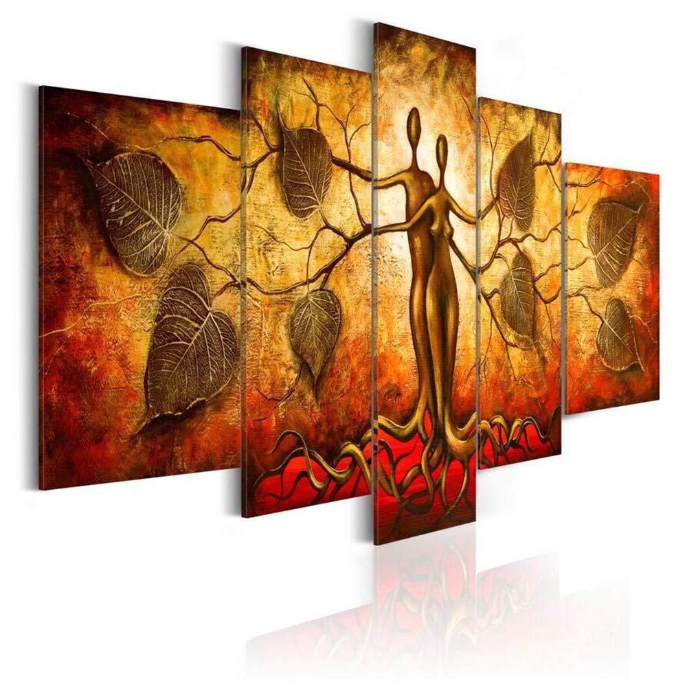 DYDONGWL Multi Panel 5pcs / al Set Pintura al / óleo Abstracta Moderna del árbol del Amor Art Print en la Lona Decoración para el hogar Pintura de la Lona Sin Marco, 20X30cmX2 20X40cmX2 20X50cm db650d
