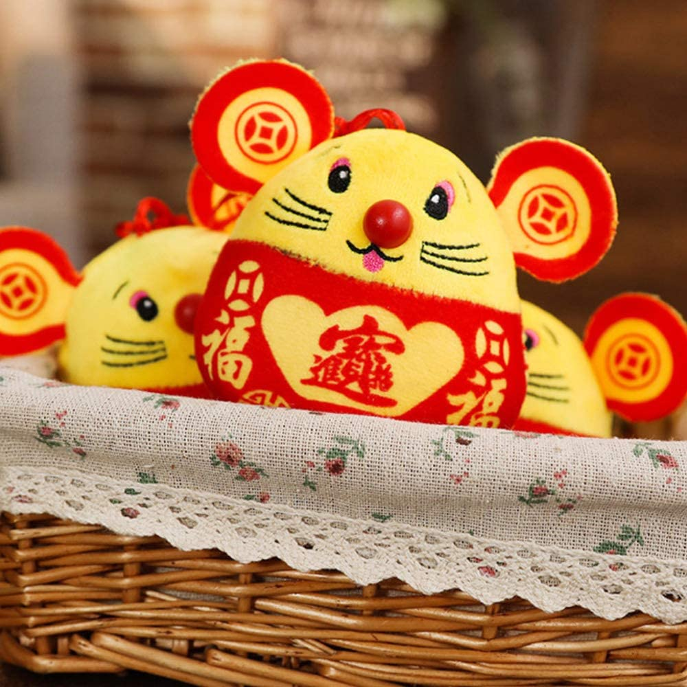 Plush Red Mouse Figurines Plush Red Mascot Mouse Stuffed Animal Lucky Doll STUDYY 4 Pack Chinese New Year Red Rat Ornament Decorations