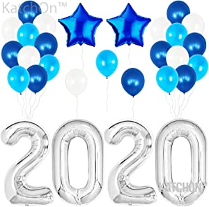 2020 Balloons Silver for New-Year, Large Size| Blue and Silver Balloon Kit | New Years Eve Party Supplies 2020 | Graduations Party Supplies 2020 | New Years Party Decorations, Graduations Decorations