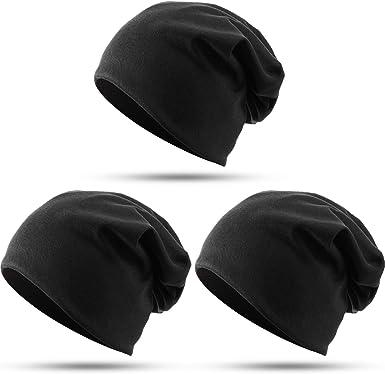 3 Paquetes Sombreros Beanie Holgada de Algodón, Gorra de Calavera de Hip Hop Gorro Diario para Mujeres Hombres: Amazon.es: Ropa y accesorios