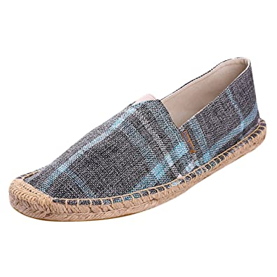 1ae65f70ca Alexis Leroy Mens Espadrille Flat Checked Canvas Espadrilles for Men