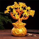 VOVOV Feng Shui Pale Gold Crystal Money Tree Bonsai Style Decoration for Wealth and Luck