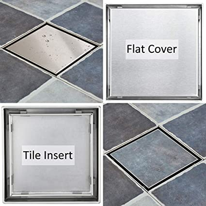6 Inch Square Shower Drain With 2 In 1 Reversible Flat Tile Insert