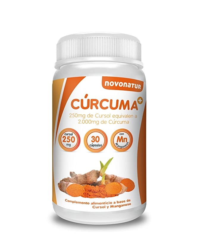 Curcuma en cápsulas con Manganeso, 250 mg de cursol equivalente a 2.000 mg de curcuma natural, potente antiinflamatorio y antioxidante natural, 30 ...