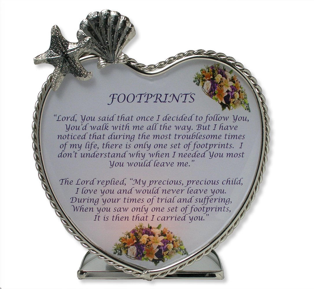 Footprints in the Sand Candle Holder - Glass Heart Tealight or Votive Holder with Inspirational Poem - Christian