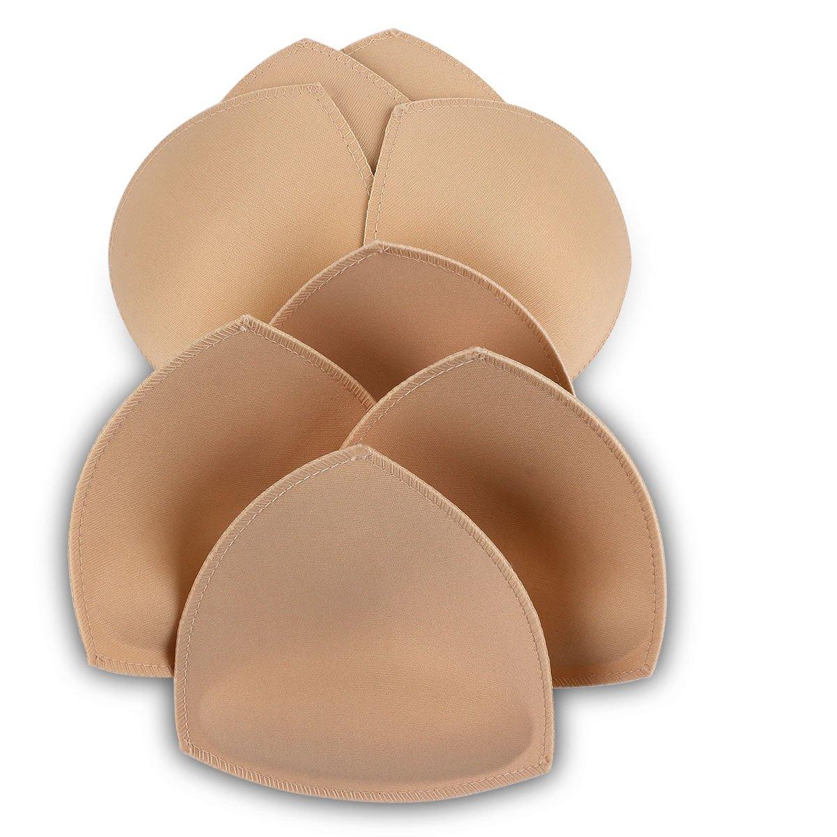 Sermicle Bra Pad Inserts 4 Pairs, Vekey Bra Pads Sewed Massaged Sports Bra A/B Cup Beige)