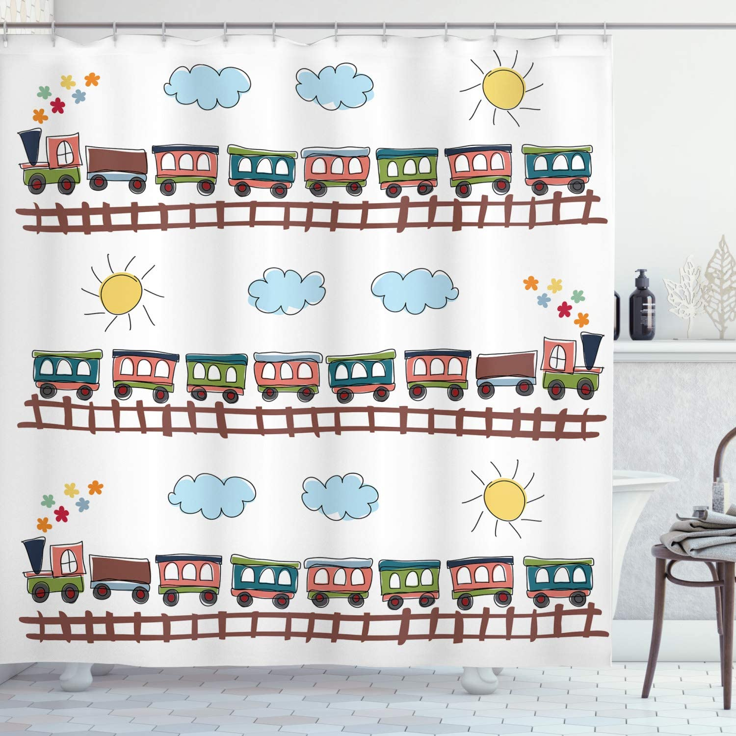 Ambesonne Nursery Shower Curtain, Cartoon Style Train and Tracklines on Sunny Day Hand Drawn Sun and Clouds Flowers, Cloth Fabric Bathroom Decor Set with Hooks, 70