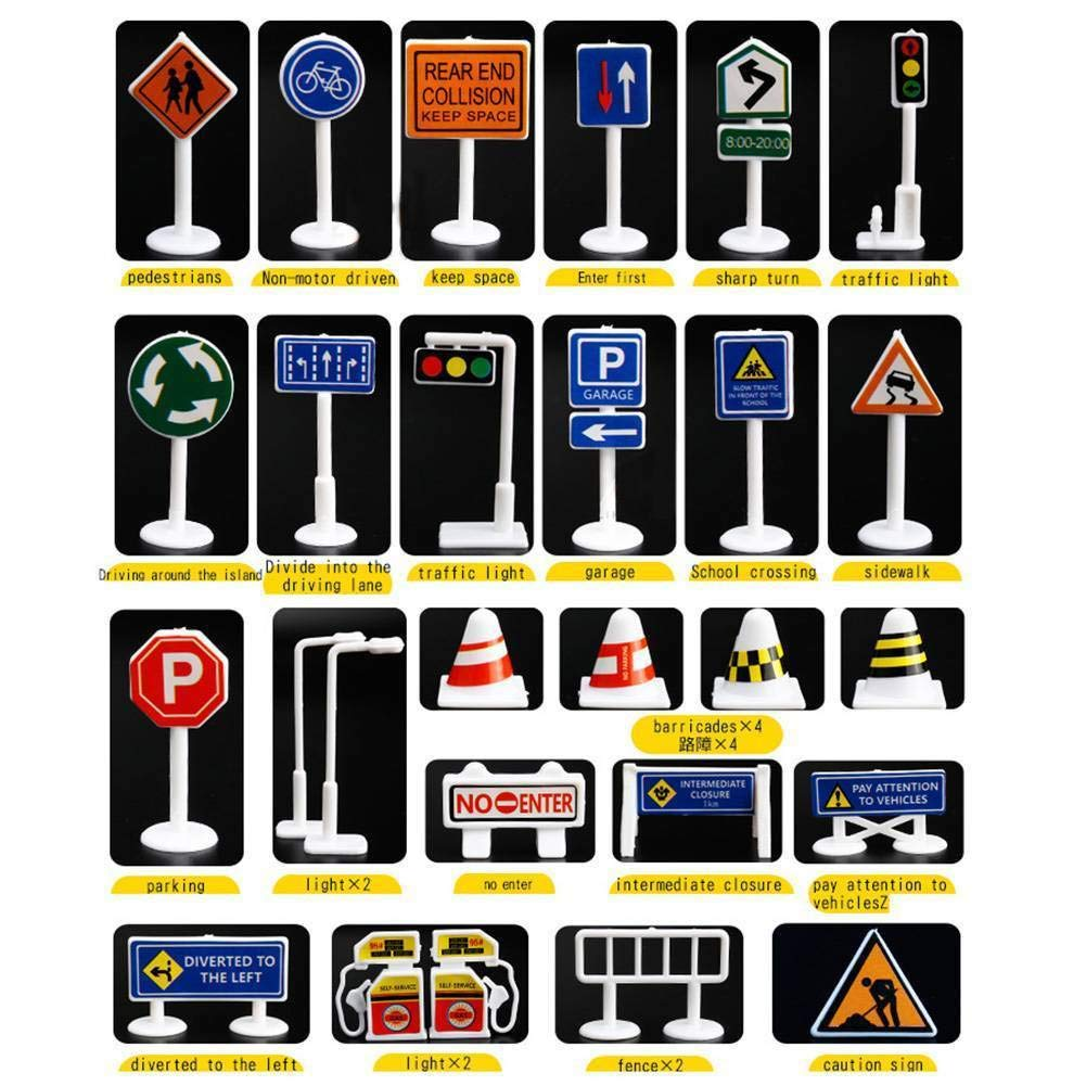 EKIMI 28 Pcs Car Toy Accessories Traffic Road Signs Kids Children Play Learn Toy Game (Signs B)