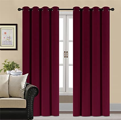 Merveilleux HCILY Blackout Velvet Curtains Red 96 Inch Thermal Insulated For Bedroom 2  Panels (W52u0027