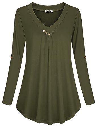 490912b513e0 Hibelle Damen Basic V Ausschnitt Bluse Shirt Elegante Lange Ärmel Tunika  Tops Oberteile  Amazon.de  Bekleidung