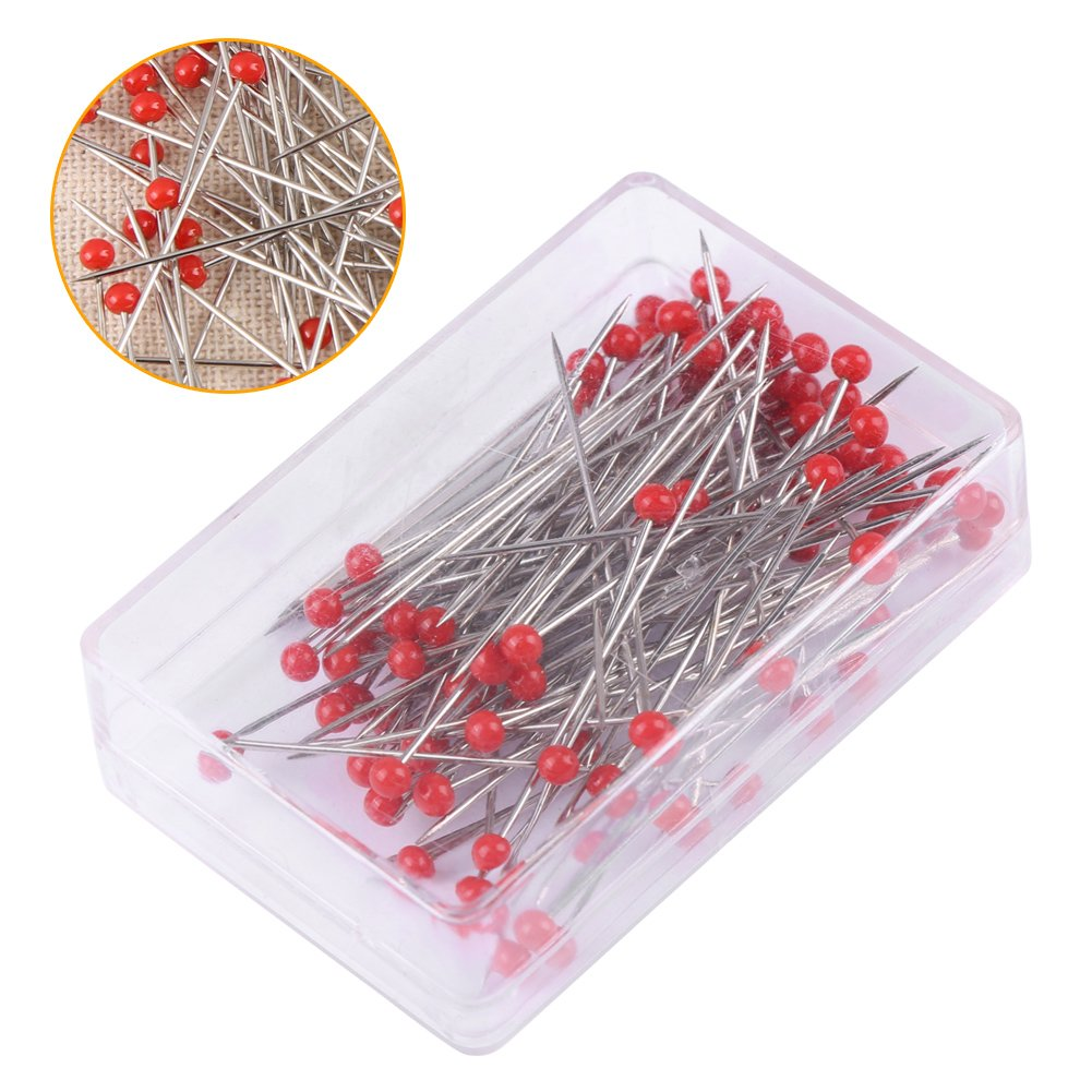 38mm Multicolor Quilting Pins Floral Pins for Dressmaking Jewelry Components Flower Decoration Borte 250 Pieces Glass Head Pins Sewing Pins