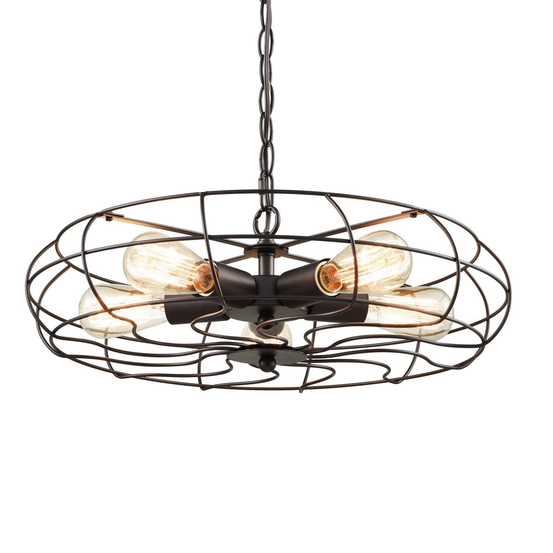 YOBO Lighting Industrial Chain Hanging Pendant Light Chandelier, 5-Light Oil Rubbed Bronze