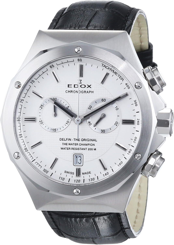EDOX - Reloj de Cuarzo Unisex, Correa de Cuero Color Negro