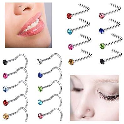 Buy Amejewe Nose Pin Nose Screw For Women Girls 20g Body Piercing