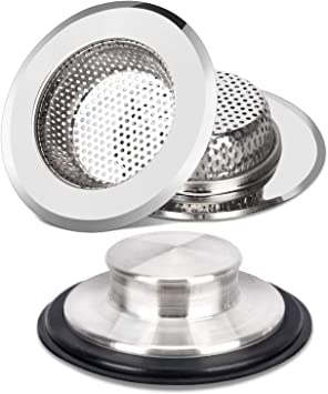 Kitchen Drainer and Stopper Set for Standard 3-1//2 Inch Kitchen Sink Drain 2PCS Kitchen Sink Drain Strainers and Anti-Clogging Kitchen Sink Stoppers