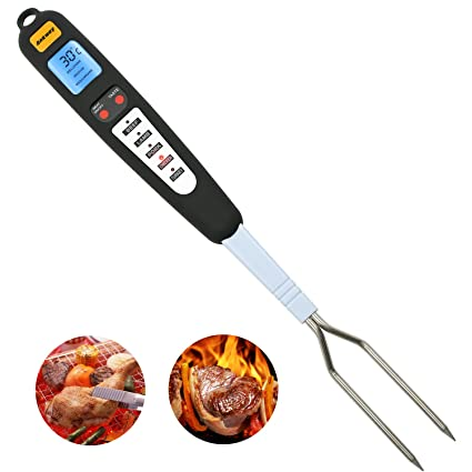 Ankway Multifuncional Termómetro Digital de cocina, Horquilla de termómetro de carne Alarma Termómetro de cocción