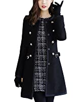 Aishang Women Winter Petite Wool Coats Faux Fur Collar Classic Double-Breasted Coat