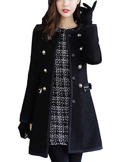 Amazon.com: Aishang Women Winter Petite Wool Coats Faux Fur Collar ...