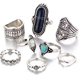 Dolland Black Silver Folk Wind Ring Turquoise Suit Ring Jewelry Womens Fashion Ring