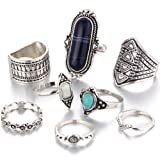 Amazon Price History for:Dolland Black Silver Folk Wind Ring Turquoise Suit Ring Jewelry Womens Fashion Ring